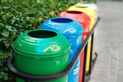 Colored trash containers for garbage separation Royalty Free Stock Images