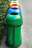 Colored trash containers for garbage separation Royalty Free Stock Image