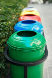Colored trash containers for garbage separation Royalty Free Stock Photo