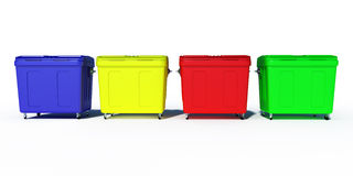 Colored trash recycling bins Stock Photography