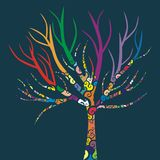 Colored Tree. Vector illustration of a tree with colored patterns Stock Photo