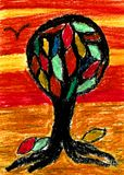 The Colored Tree of Hope - Oil Pastel Drawing. The colored tree of hope. On the left hand side flies a bird and leaves are on the ground. In the middle stands a vector illustration