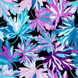 Colored tree leaves on a black background seamless pattern Stock Photos