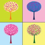 Colored trees collection Royalty Free Stock Images