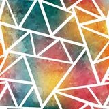 Colored triangle seamless pattern with grunge effect Royalty Free Stock Photo