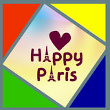 Colored triangles and squares with the inscription Happy Paris Stock Photos