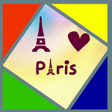 Colored triangles and squares with the inscription Paris Stock Images