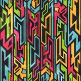 Colored tribal graffiti seamless pattern stock illustration