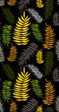 Colored tropical palm leaves seamless pattern. Tropical colored palm leaves seamless patter on the black background. Yellow, green palm leaves. Tropical Stock Image