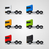 Colored trucks set Stock Photo