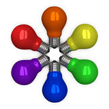 Colored tungsten light bulbs lying radially Royalty Free Stock Photo