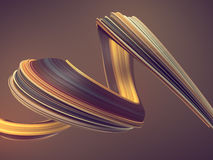 Colored twisted shape. Computer generated abstract geometric 3D render illustration Stock Photos