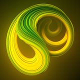 Colored twisted shape. Computer generated abstract geometric 3D render illustration. Yellow and green abstract twisted shape. Computer generated geometric Royalty Free Stock Photos