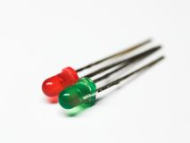 Colored two light-emitting diodes. Red and green light-emitting diodes Stock Images