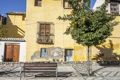 Colored and typical houses historic center of Granada, Spain.  royalty free stock photos