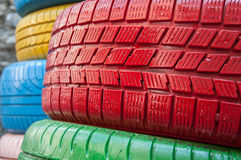 Colored tyres Royalty Free Stock Photo