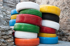Colored tyres Stock Photo