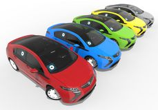 Colored uber taxi fleet Stock Images