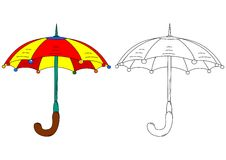 Colored umbrella like coloring books Royalty Free Stock Photos