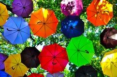 Colored umbrellas. Colorful umbrellas against the sky Stock Photos