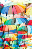 Colored umbrellas. Covering a street in bucharest Stock Image