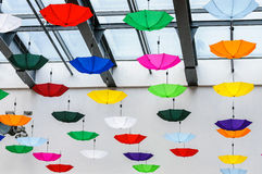 Colored umbrellas decoration Royalty Free Stock Photos
