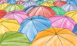 Colored umbrellas in the rain - pattern Royalty Free Stock Photography
