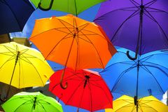 Colored umbrellas Stock Images
