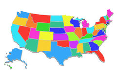Colored United States of America map, 3D rendering Stock Photography