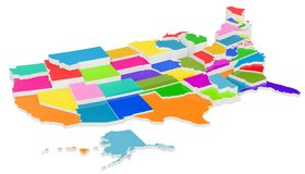 Colored United States of America map with state borders, 3D rend. Ering isolated on white background vector illustration