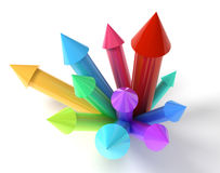 Colored Upwards Arrows concept. 3D vector illustration