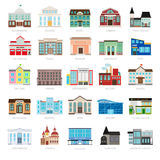 Colored urban government building icons. Municipal library and city bank, hospital and school vector icon set. Colored urban government building icons vector illustration
