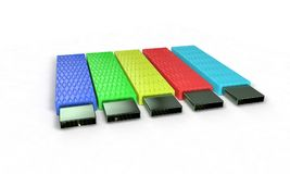 Colored usb disk on white, 3d. Render Stock Images