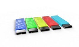 Colored usb disk on the white, 3d. Render Royalty Free Stock Images