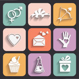 Colored Valentine day love icons set for web applications Royalty Free Stock Image