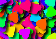 Colored valentines. Abstract background with many hearts in color royalty free stock photography