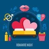 Valentines Day Flat Composition. Colored valentines day flat composition with romantic night headline and bed for two vector illustration Stock Photos