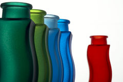 Colored vases. Five colored vases on white background Stock Photos