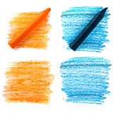 Colored vax pencil. Colored vax blue and orange pencil on white Royalty Free Stock Image