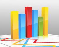 Colored vector bar graph Stock Photography
