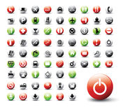 Colored vector buttons. Set of 72 various colored vector buttons, icons Stock Image