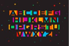 Colored vector font. Geometric negative space alphabet. Colorful letters on black background with geometric confetti. Colored vector font. Geometric negative stock illustration
