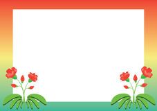 Colored vector frame with red flowers. Colored  frame with red flowers Royalty Free Stock Image