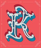 Colored vector illustration of capital letter K Stock Photos