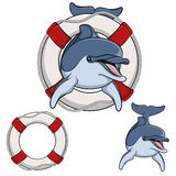Colored vector illustration of a dolphin and a life buoy. EPS10. Colored vector illustration of a dolphin and a life buoy Royalty Free Stock Images