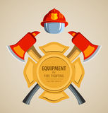 Colored vector illustration, icon. Firefighter. Emblem or volunteer. Maltese cross, shield, ax, fireman helmet. Element for the magnet on the fridge or print Stock Image
