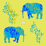 Card with elephants. Colored Vector illustration with the image of an envelope and two elephants with ornament Stock Image