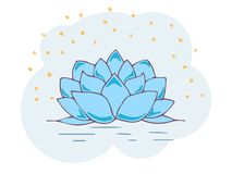 Colored vector illustration with the Lotus flower in gentle tones. EPS10 stock illustration