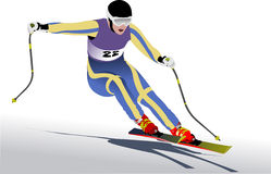 Colored vector illustration of skier Royalty Free Stock Photos