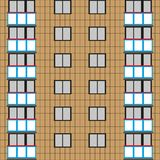 A large wall of an apartment building with windows and balconies. Vector illustration. Royalty Free Stock Image